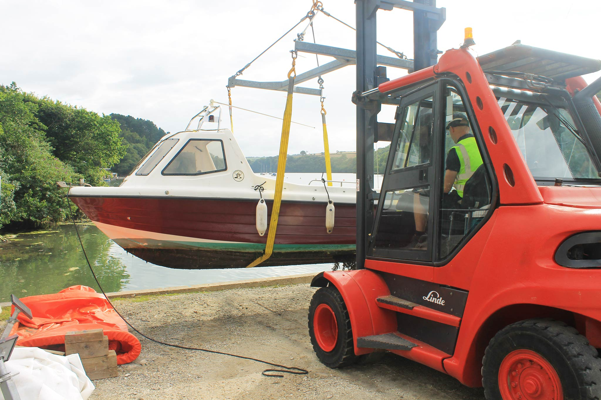 Boat lifting at Truro Boat Services, Malpas, Cornwall